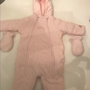 New One piece baby snowsuit that is light pink